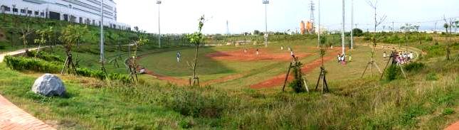 林厝公園慢壘場的全景